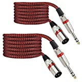 Luterra 6.6FT 1/4 TRS to XLR Male Cable, Balanced Quarter Inch XLRM Speaker Cord Adapter, 6.35mm MIC/LINE Cable for Studio Monitors/Audio Interface/Microphone, Braided Design, Red Color, 2Pack