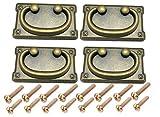 maniglie vintage antiche per armadietti, cassetti e cassetti, decorazione per mobili, 4 pezzi (nero, 96 mm x 52 mm), con 16 viti di 2 lunghezze e 1 piccola chiave esagonale