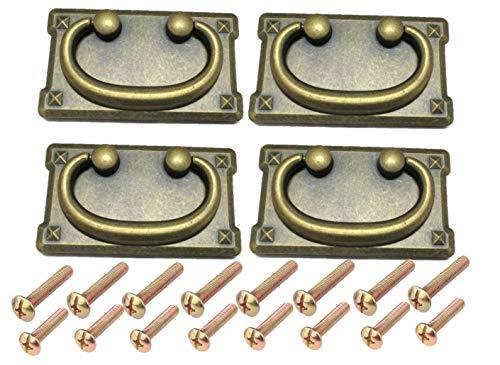 Lot de 4 poignées de tiroir vintage antiques avec anneau de tirage pour porte d'armoire, décoration de meubles (noir, 96 mm x 52 mm), avec 16 vis de 2 longueurs et 1 petite clé hexagonale