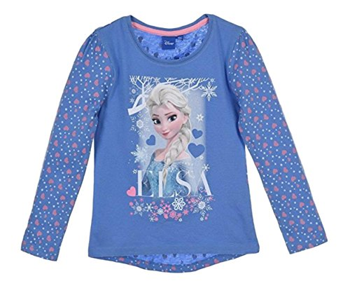 Frozen Langarmshirt Mädchen Ökotex Standard 100 ELSA (Blau; gemusterte Ärmel, 98-104)