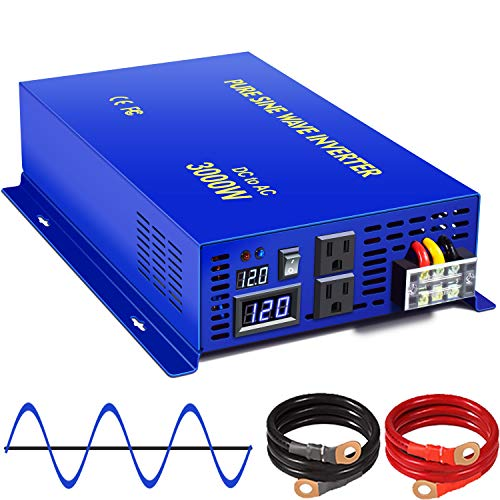XYZ INVT 3000W Pure Sine Wave Power Inverter 12v to 110v 120v DC to AC with 2 USA Outlets 2 Set of Battery Cables, Power Converter for Home Off Grid, Solar System, RV.(3000W12V)