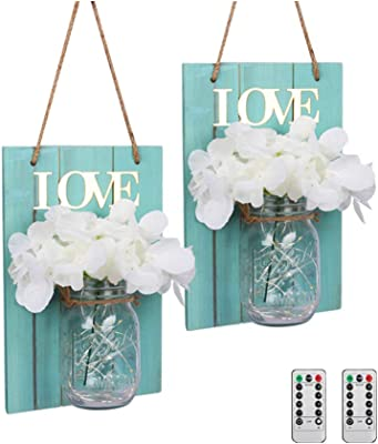 Amazon Com Homko Decorative Mason Jar Wall Decor Rustic Wall Sconces With 6 Hour Timer Led Fairy Lights And Flowers Farmhouse Home Decor Set Of 2 Home Kitchen