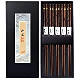 5 Pairs Premium Reusable Chopsticks Set - Natural Wooden Chinese Japanese Korean Chopsticks,...