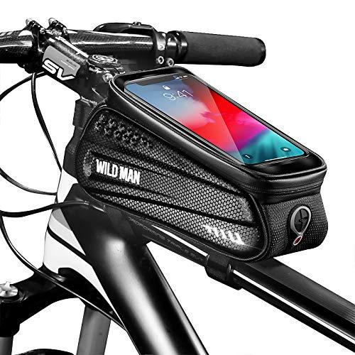 SKYSPER Rahmentaschen für Fahrrad mit Touchscreen Transparent Wasserdicht Fahrrad Handyhalterung Fahrradtasche Rahmen für Smartphones von 4,7 bis 6,5 Zoll Fahrradzubehör