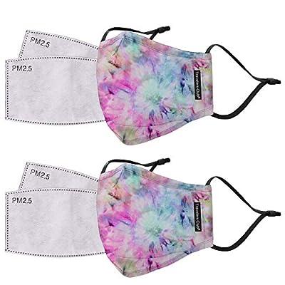 Travelers Club 2 Piece Face Mask Plus 4 Air Filters Set, Tye Dye, Standard from Travelers Club