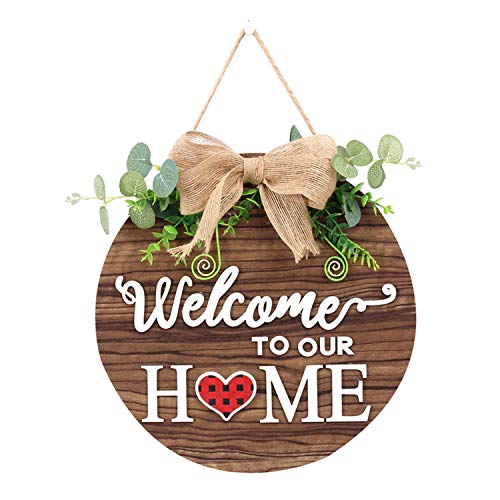 Round wooden entrance door welcome sign,Spring welcome sign front door decoration,For Christmas, home, outdoor front door decoration with mixed colors