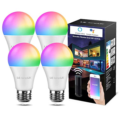 LE Smarte Glühbirnen E27, 9W WiFi Lampe Smarthome Glühbirnen, 806lm Wlan Licht Bulb Light, Mehrfarbige Dimmbare Birne, Smart LED E27, App Steuern Kompatibel mit Alexa Echo, Google Home, 4 Pack