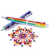 Multicolor Pens - 24 Pack of 6-in-1 Retractable Ballpoint Pens - 6 Vivid Colors in Every Pen - Best for Smooth Writing - By Hieno