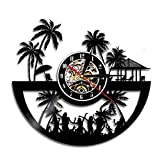 Reloj de Pared con Disco de Vinilo de diseño Vintage de Playa, Reloj de Pared de Arte de Pared de Carolina del Sur, Horizonte de Viaje