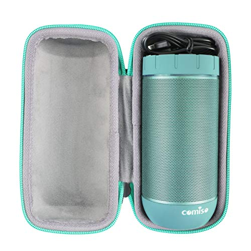 Hart Reise Schutz Hülle Etui Tasche für COMISO Wasserdicht Bluetooth Lautsprecher Kabellose Portabler 12W Lautsprecher von co2CREA (schwarz+Grün)