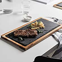 Acacia Wood Serving-Tray Slate-Stone Steak Serving-Platter Cutting-Board with Grooved Handle Dishwasher Safe Plate (1, Rec...