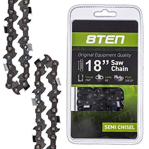 8TEN Chainsaw Chain 18 Inch Bar .050 Gauge 3/8 Pitch 62 Drive Links for Husqvarna Echo Poulan Pro Stihl