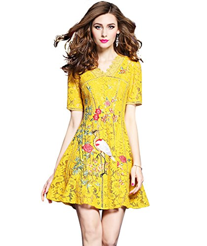 Women's V neck Lace Floral Embroidered Short Sleeve Cocktail Party Skater Dress