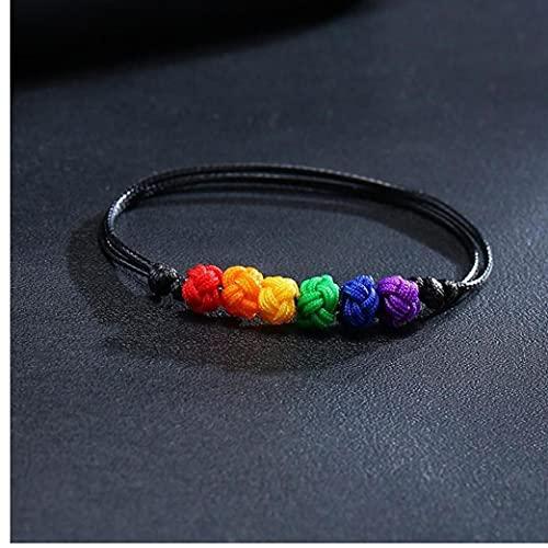 PiniceCore 2 Pcs Nylon Rainbow Pulsera Ajustable Tejido a Mano Pulsera De Cuerda para Hombres