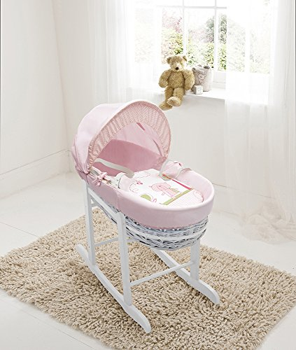 Beary Nice Pink White Wicker Moses Basket & Deluxe White Rocking Stand