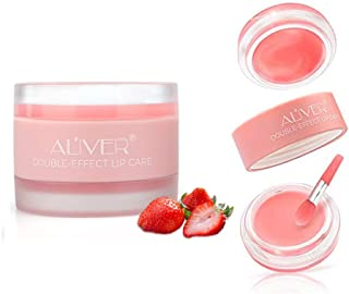 Lip Scrub,Double Effect Lip Sleeping Mask, Lip Treatment,Strawberry Overnight Moisturizing Repairing Lips Mask, Sleeping Lip Balm, Peeling Lips, Lip Primer, Chapped Skin (strawberry)