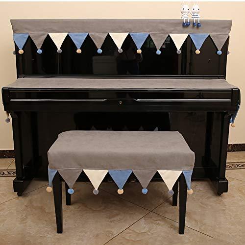 BCGT Plein Piano Dust Cover, décoration artisanale de luxe et durable Tissu, décoré d'art avec de la fourrure Ball, for Universal Upright Piano vertical Piano droit universel 148-153cm, Inclure couver