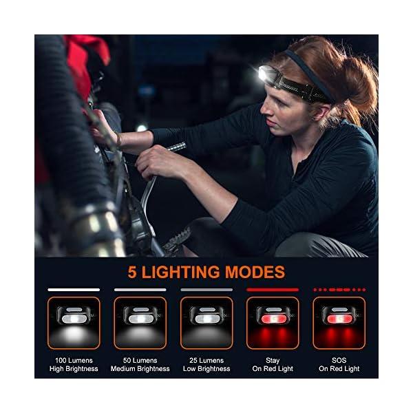 Cocoda Linterna Frontal, Frontal LED USB Recargables con 5 Modos de Luz, 200 Lúmenes, Impermeable IPX4 para Niños y… 2