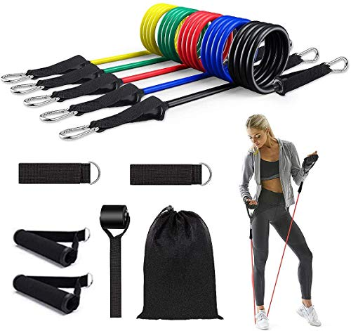 Resistance Bands Set, 11 Pack Exercise Bands Stackable up to 150lb, Indoor/Outdoor Workout Bands with Door Anchor & Handles for Fitness, Strength, Slim, Yoga, Home Gym Equipment for Men/Women