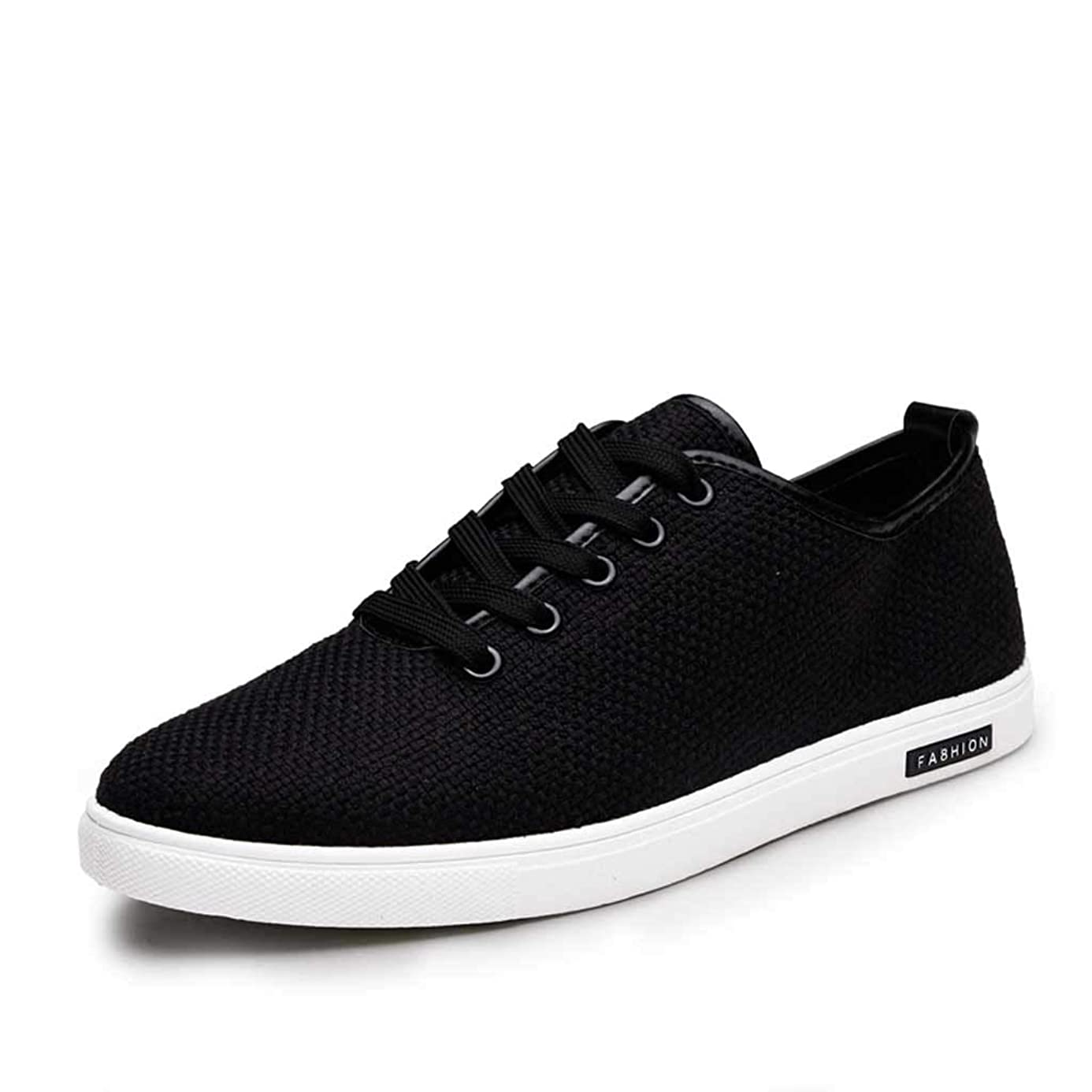 Men's Flat Lace Up Sneakers,Mosunx Athletic Teen Boys Woven Breathable Solid Sport Running Shoes Summer Low-Top Linen Canvas Casual Shoes (8.5, Black)