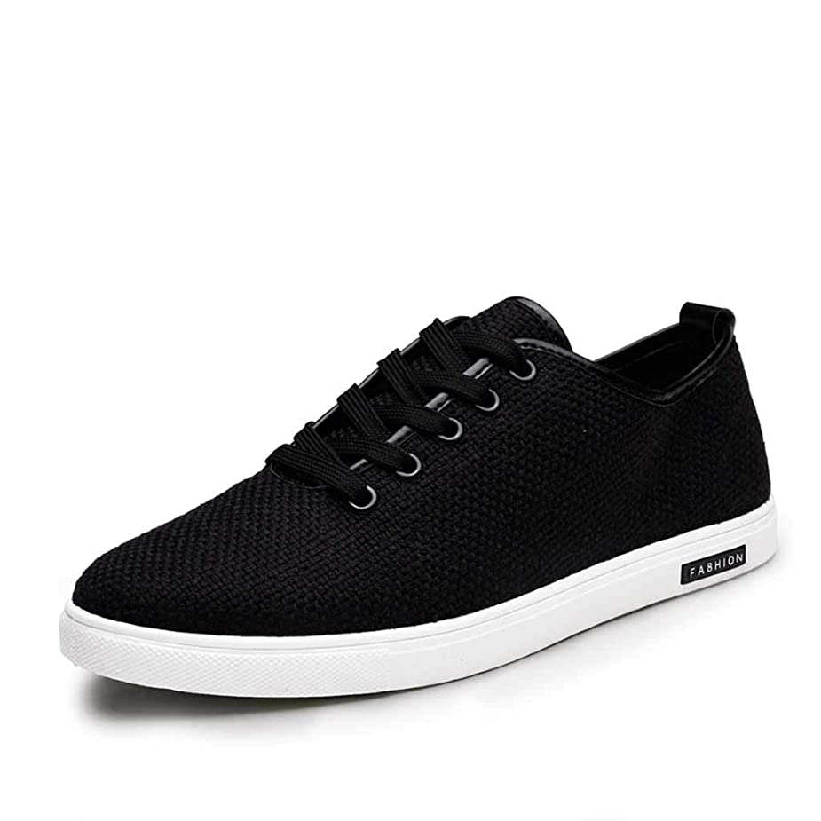 Men's Flat Lace Up Sneakers,Mosunx Athletic Teen Boys Woven Breathable Solid Sport Running Shoes Summer Low-Top Linen Canvas Casual Shoes (8.5, Black) jdcdze2456471