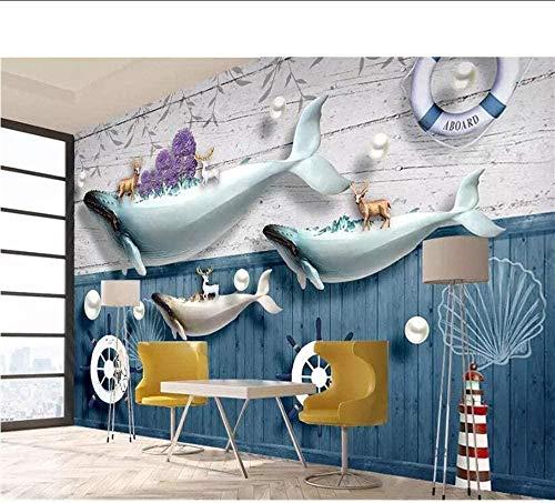 ZJfong Aangepaste foto Behang Fotobehang Sieraden Oceaan Walvis Vuurtoren Zeilboot Baksteen Muur Papier Mediterraans Behang 330 x 210 cm.