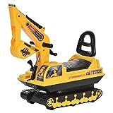 homcom Escavatore Ruspa Giocattolo Cavalcabile per Bambini Max. 30 kg con Schienale, Braccio Mobile e Vano Contenitore