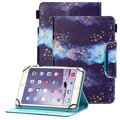 Popbag Universal Case for 7 Inch Tablet - Stand Wallet Fold Cover for Galaxy Tab 7 / Dragon Touch 7 / Fire 7 / Onn 7' / RCA Voyager 7.0 / HDX 7 / Huawei T3 / Lenovo Tab 7 Inch Tablet, Blue Starry Sky