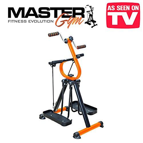 MasterGym - L'attrezzo ginnico definitivo multiuso ideale per la riabilitazione e rieducazione muscolare - Ideale per anziani e i disabili - Cyclette multifunzione con estensori muscolari per l'allenamento di braccia, gambe, petto e schiena con altezza e resistenza regolabile - master bi. pedaliera mini gym bike ciclo bici dual