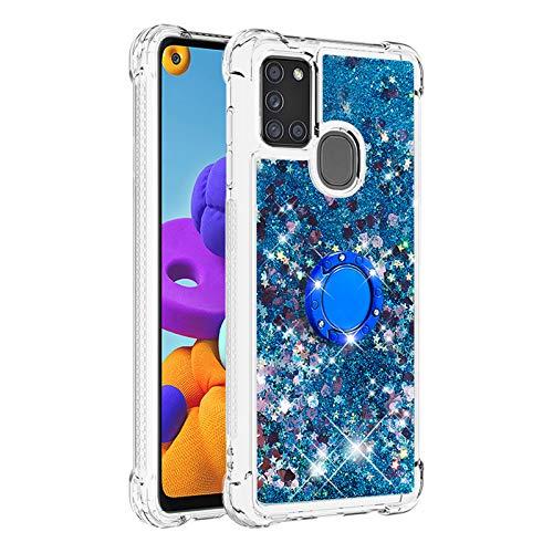 Hülle für Samsung Galaxy A21S Diamant Ring Flüssig Treibsand Silikon TPU Bumper Hülle für Samsung Galaxy A21S(Blaue Liebe)
