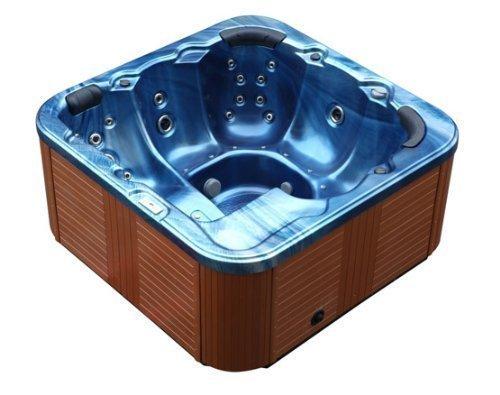 Outdoor Whirlpool Al Aire Libre Hot Tub Troja Spa color: AZUL CON 44 BOQUILLA DE MASAJE + Calefacción + OZONO LIMPIEZA + Iluminación LED für 5-6 personas Al Aire Libre