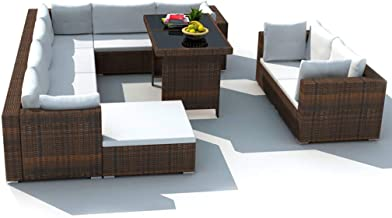 vidaXL Garden Lounge Set with Cushions 10 Piece Outdoor Patio Porch Backyard Furniture Sofa Couch Seating Table Poly Ratta...