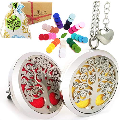 Essential Oil Diffuser Necklace Aromatherapy - Gifts for Women Unique Tree of Life Locket Pendant & Car Vent Clip Eco Set, 27+2' Adjustable Chain Stainless Steel Engraved Oils Jewelry 36pc Refill Pads