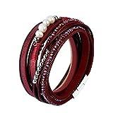 F Fityle Leder Wickelarmbänder Legierung Perlen Teile mit Glanz Strass Armband für Damen - rot