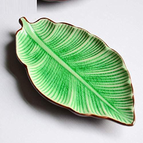 qnmbdgm Platte Keramik Porzellan Bananenblatt Form Blatt Teller Keramik Gerichte EIS Riss Glasur Schöne Sushi Gerichte Geschirr Kleine Teller
