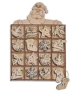 Viva-Haushaltswaren – 48 Weihnachtsbaum- Anhänger / Tannenbaumanhänger / Christbaumschmuck aus Holz (8 verschiedene Designs)