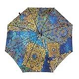 Paraguas plegable resistente al viento compacto que se puede abrir con una sola mano, efectos marroquíes orientales tradicionales paraguas de viaje impermeable Boho Rain & Outdoor