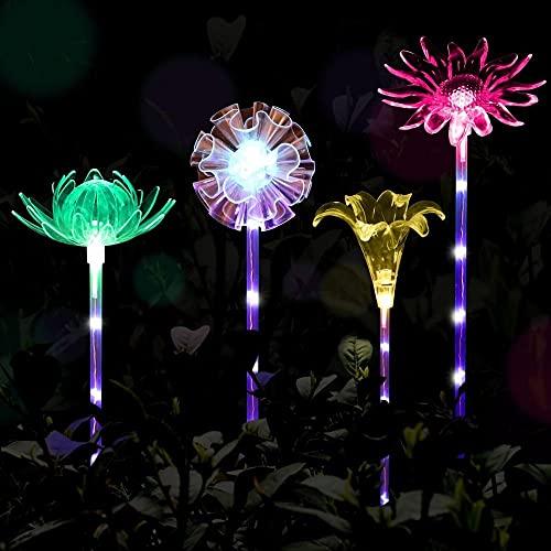 Sol trädgårdslampor utomhus, 4-pack LED solstolsljus, flerfärgat byte soldrivet dekorativt landskap belysning lotus maskros ros solros för stig, gård, gräsmatta, halloween, jul