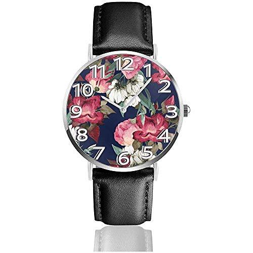 Peonia in fiore in cortile fiore sfondo orologi Durevole PU cuoio orologio da polso al quarzo di silenzio di vita