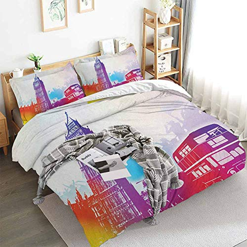 Aishare Store London Duvet Cover Set,Historical Big Ben and Bus Great Bell Clock Tower UK Europe Street Landmark,Decorative 3 Piece Bedding Set with 2 Pillow Shams,Queen(90'x90') Purple Red Yellow
