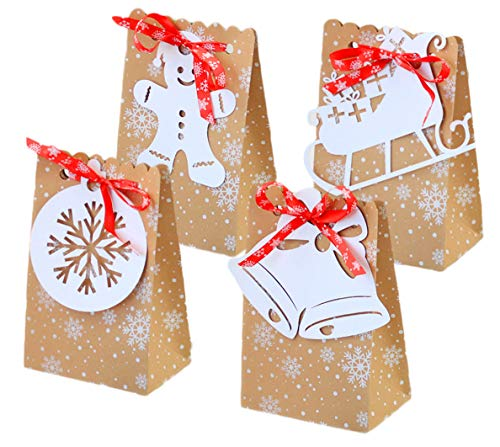 12pcs bolsas de regalo de Christmas kraft cajas de regalo de Xmas con cinta bolsas de papel kraft para fiestas de Xmas para regalos, caramelos, chocolate, envoltura de regalos