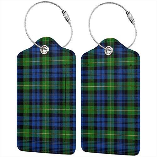 Etichette per bagagli in pelle Gordon Highlanders tartan per valigia, borsa da viaggio con copertura per la privacy, set da 2 pezzi