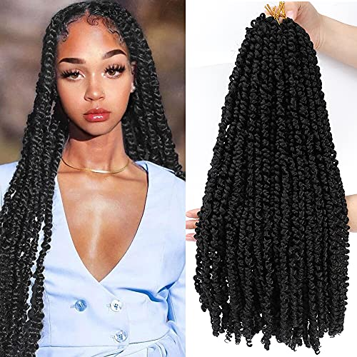 7 Packs 20 Inch Black Pre-twisted Passion Twist Crochet Braids Hair Pre-looped Spring Curly Ends Natural Water Wave Long Bohemian Hairstyle Synthetic Braiding Hair for Black Women (7packs, 1B#)