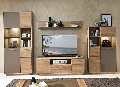 lifestyle4living Wohnzimmerschrank, Wohnwand, Schrankwand, Anbauwand, Fernsehwand, Wohnzimmerschrankwand, Wohnschrank, Wildeiche, Basalt, anthrazit, grau, Beleuchtung