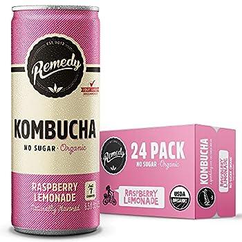 Remedy Raw Organic Kombucha Tea - Sparkling Live Cultured Drink - Sugar Free Raspberry Lemonade - 8.5 Fl Oz Can 24-Pack