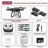 MEIGONGJU X35 / X35 Pro GPS Drone avec Connexion Wi-FI 4K HD caméra à Trois Axes Gimbal Profissional RC Quad Copter brushless FPV Drone Vs SG906 Pro,X35 Pro 3b 64g Card