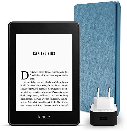 Kindle Paperwhite Essentials Bundle mit einem Kindle Paperwhite, 8 GB, WLAN, mit Spezialangeboten, einer Amazon Lederhülle (Dunkelblau) und einem Amazon Powerfast 9-W-Ladegerät