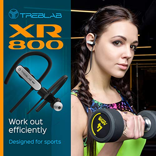 TREBLAB XR800 Bluetooth Headphones, Best Wireless Earbuds For Sports, Running Or Gym Workouts. 2018 Best Model. IPX7 Waterproof, Sweatproof, Secure-Fit. Noise-Cancelling Earphones w/ Mic (White) 6