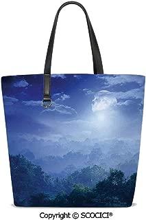 SCOCICI Women Tote Shoulder Bags Moonlight Covers Jungles of Sri Ladies Handbag