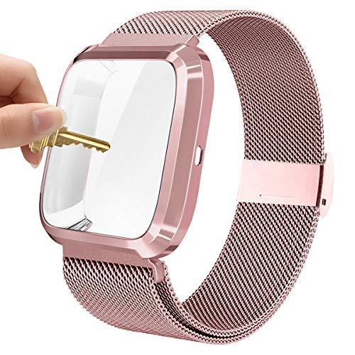 Maxjoy Compatible with Fitbit Versa Bands, Versa 2 Stainless Steel Metal Band Mesh Replacement Bracelet Wristband with Protective Case Compatible with Fitbit Versa 2 1 Watch, Rose Gold